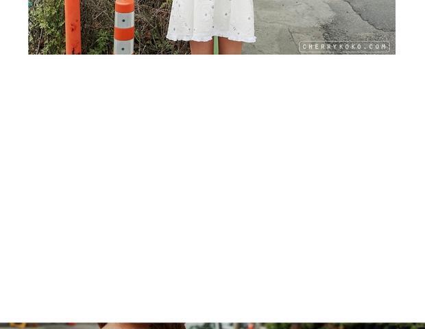 小清新刺绣花朵连衣裙图片
