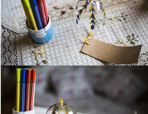 孔雀尾水晶透明手绘风铃