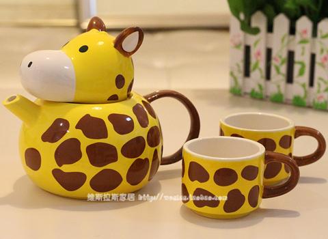 创意陶瓷可爱长颈鹿动物马克杯