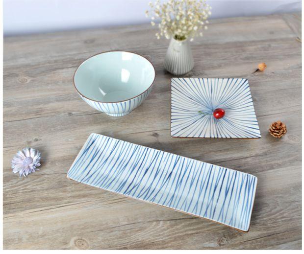 创意日式陶瓷长方形盘子图片