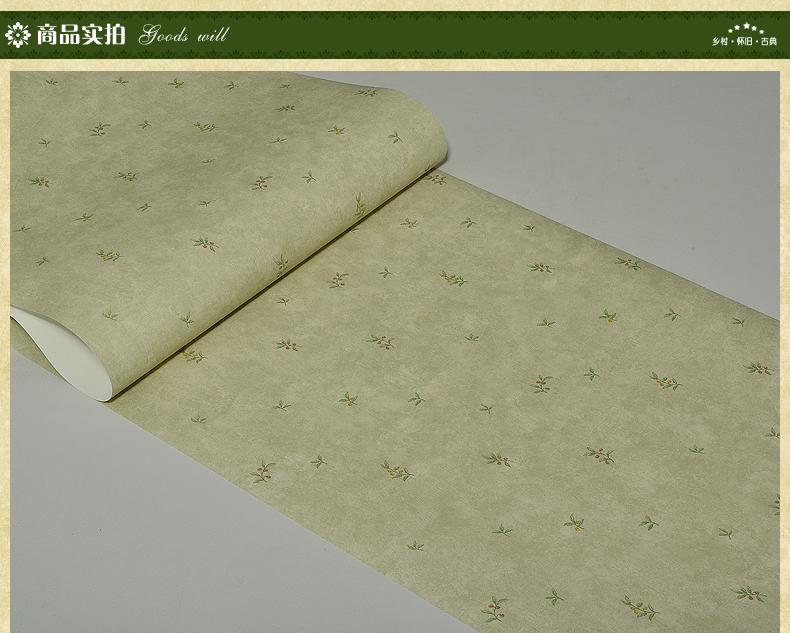 欧式田园绿色小碎花墙纸