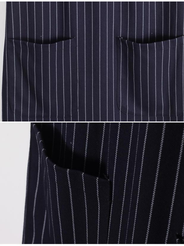 素秋·竖条纹西装背心裙