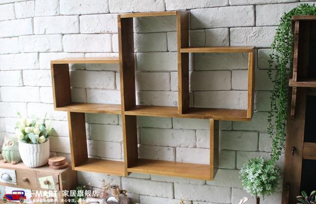 复古木质墙面置物架