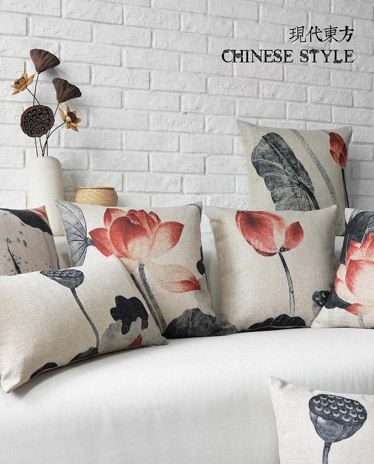 中国风水墨荷花棉麻抱枕