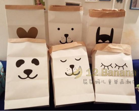 卡通熊猫纸制收纳袋