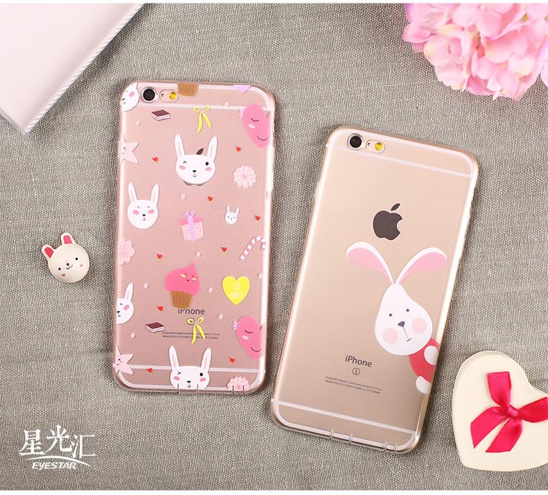 可爱小兔子透明硅胶手机壳