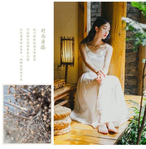 森系复古文艺纯棉吊带连衣裙图片