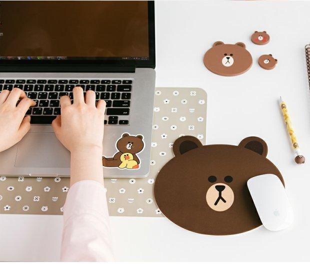 line friends韩国代购可爱卡通布朗熊可妮兔防滑电脑