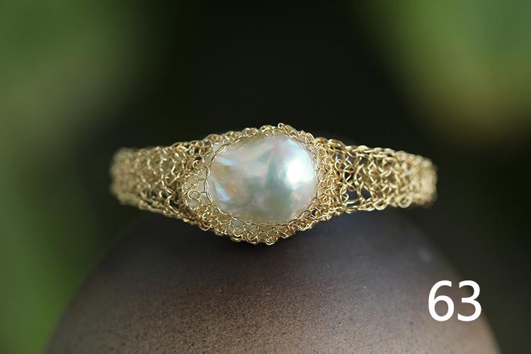 天然巴洛克珍珠手链,14k包金手工编织. 6#超大珍珠版,手链周长17.
