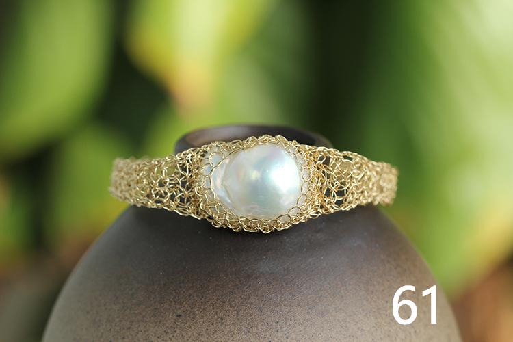天然巴洛克珍珠手链,14k包金手工编织.