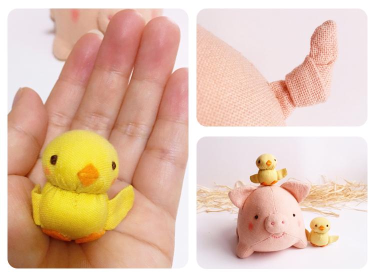 小猪diy手工制材料包不织布玩偶 布艺洋娃娃公仔布偶